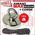 AIMANT Néodyme de détection - Force d'adhérence 175kg + corde 30m
